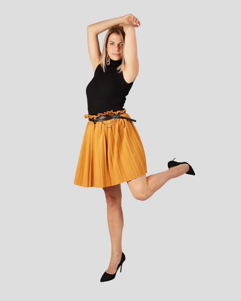 Γυναικεία πλισέ φούστα με ζώνη μουσταρδί 100% πολυεστερ