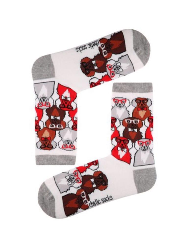 Γυναικείες κάλτσες σκυλάκια λευκό 78% βαμβάκι