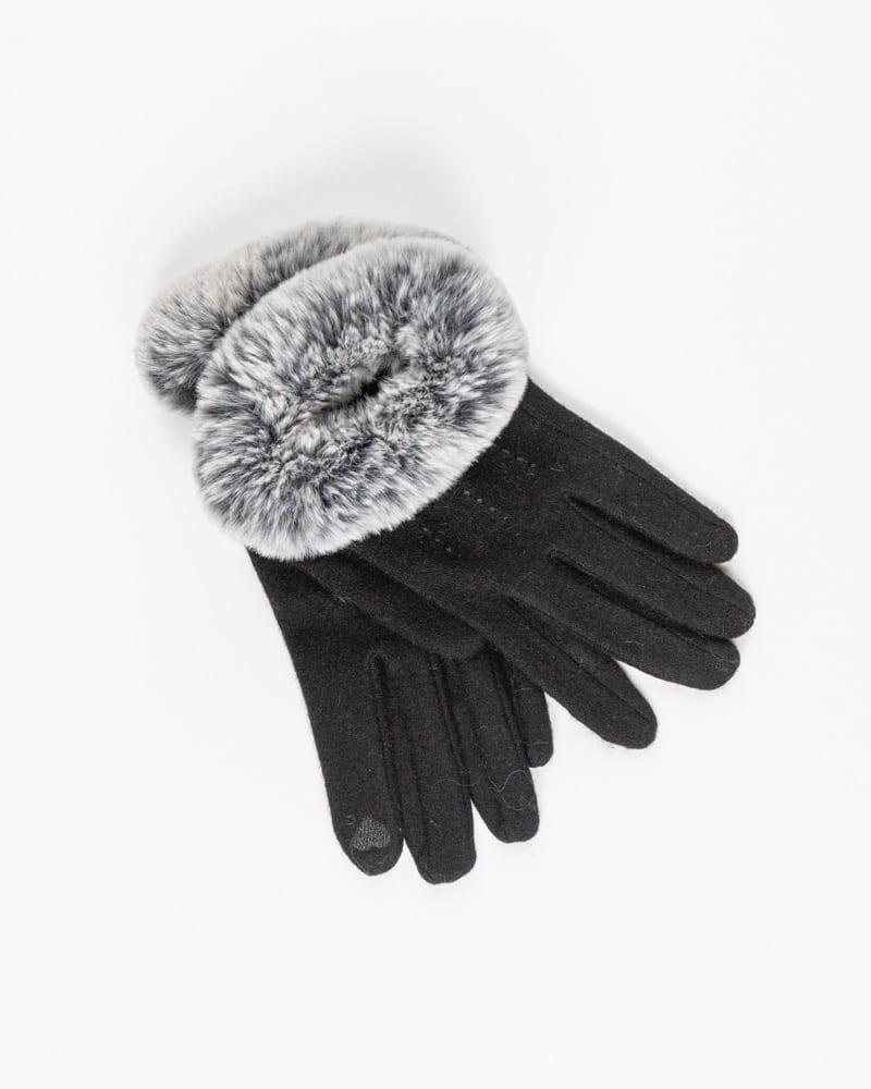 Γυναικεία γάντια μάλλινα με γουνάκι 70% μαλλί